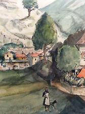 Belle aquarelle A Magnier illustrateur journal La Provence marseille années 50