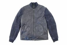 VINCE NAVY BLUE MEDIUM SUEDE 100% GOAT LAMB LEATHER BOMBER JACKET MENS NWT NEW