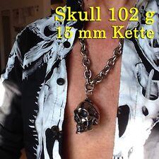 Skull Halskette Anhänger Totenkopf Biker Panzerkette breit Motorrad Jacke Harley