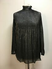 NWT Lauren Ralph Lauren black silver lurex pleated blouse cold shoulder top S