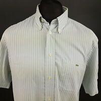 Lacoste Mens Vintage Shirt 42 (LARGE) Short Sleeve Grey Regular Fit Striped
