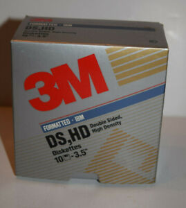 """3M 3.5"""" DS HD Double Sided High Density Floppy Disk Formatted IBM BOX OF 10"""