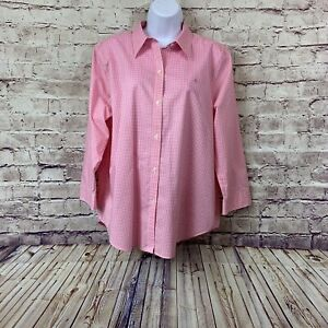 Lauren Ralph Lauren Womens Pink Gingham Check Button Front Shirt Size XL
