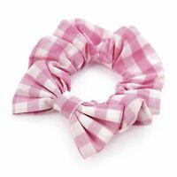 Girls Pink Gingham Check Bow School Hair Scrunchie Bobble