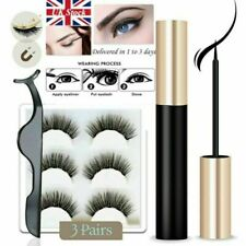 Waterproof Magnetic Eyeliner with Eyelashes and Tweezer 3 Pairs Set Long Lashes