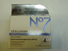Boots No7 Lift & Luminate Triple Action Day Cream, 1.69 fl oz. EXP 2019 NEW