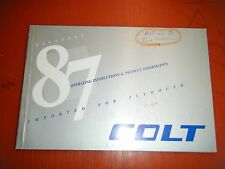 1987 Plymouth Colt Original Factory Operators Owners Manual