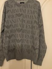 Mens Armani Sweatshirt All Over Logo Size M-L New