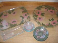 Vintage 50's Floral Glassware Set Trays & Bowls 13 Pieces Pink & Green