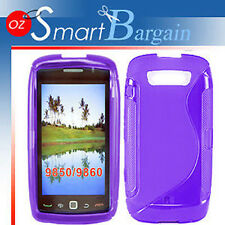 S CURVE PURPLE Soft Gel TPU Cover Case BlackBerry Troch 9860 + Screen Protector
