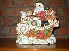 Fitz and Floyd Omnibus 1995 King Wenceslas Santa Sleigh Cookie Jar