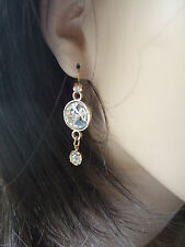 BIJOUX FAB GOLD TONE LARGE CRYSTAL DROP CHARM  EARRINGS BOHO