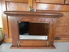 Vintage Wood Wall Hanging Hat Coat Rack With Mirror& Hooks Hall