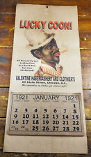 Black Americana Lucky Man Chicago Hat Clothing Store Calendar Full Year 1921