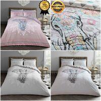 Elephant Mandala Duvet Cover & Pillowcase Reversible Bed Set Single Double King