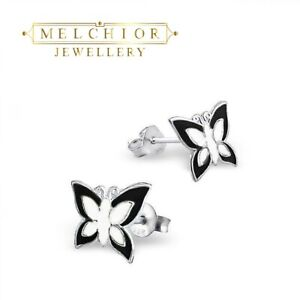 925 Sterling Silver Earrings - Black/White Butterfly - Gift Boxed