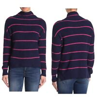ABOUND Navy Pink Striped Mock Neck Rib Long Sleeve Hi Low Sweater Womens XS NWT
