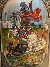 "Mcm Medieval Castle Style Art~St George Dragon~28"" Copper Hand Signed Painting"