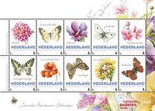 Paises Basos 2016  Marposa - flores  2 bloque   menta                   s