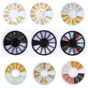 3D Nail Art Rhinestones Studs Acrylic Tips Decoration Charms in Wheel Manicure