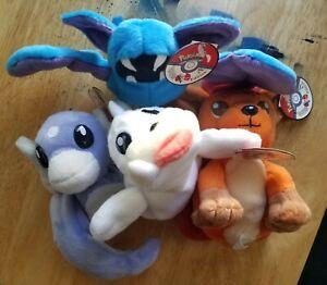 KFC Vintage 1998 Pokemon Plush Toy Lot Dratini/Zubat/Vukpix/Seel With Hang Tags