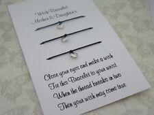 Mother + Daughter's Wish Bracelet Message Tibetan Charm Family Gift Anklet Heart