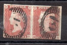 GB QV 1841 Fine Used IMPERF 1d Penny rojo par WS2526