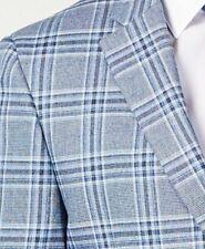 Tommy Hilfiger Blazer Size 42S Men Suit Jacket Light Blue White Plaid Windowpane