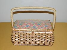 VINTAGE FLOWERS LINED SEWING KIT BASKET BOX HOLDER