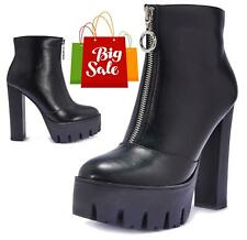 WOMENS EXTREME PLATFORM BOOTS PUNK GOTHIC VEGAN LEATHER LADIES ANKLE BOOTIES