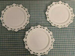 "3 Elegant Westmoreland Ring and Petal milk glass salad plates 8 1/4"" Vintage EUC"