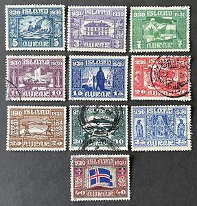 Iceland 1930. Parliament Millenary Celebration 5a-40a. 10 Stamps (VFU)