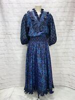 Vintage Diane Freis Dress Blue Purple Color Shift Ruffle Taffeta Ballon Sleeves
