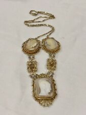 Antique Vintage 925 Sterling Silver Victorian  Filigree Carved Cameo Necklace