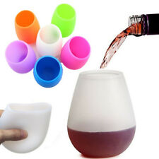1pc Unbreakable Silicone Drinkware Wine Glasses Stemless Whiskey Beer Cup Glass