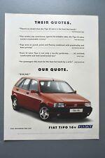 2 Pages Fiat Tipo Publicité Advertising 1990