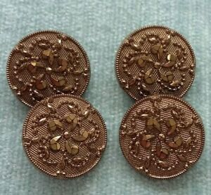 SET OF 4 VINTAGE BLACK GLASS FLOWER BUTTONS 18mm GOLD PAINTED