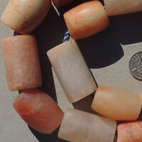17 cylindrical  bicone cone drilled ancient agate african stone beads mali #4096