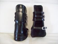 Black Leather Tendon Boots Full Size