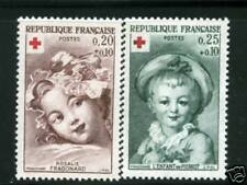 TIMBRES N° 1366-1367  NEUF * * - GOMME D'ORIGINE - CROIX ROUGE 1962