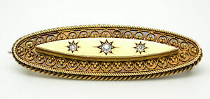 Stunning Heavy Victorian 15ct Gold Diamond Brooch