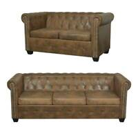 2/3 Seater Chesterfield Sofa Set Couch Leather Living Room Furniture Luxury Seat