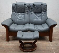 "EKORNES STRESSLESS ""WINDSOR"" GREY LEATHER RECLINING 2 SEATER SOFA & FOOTSTOOL"