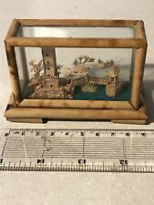 Vintage Miniature Japanese Diorama Cork Stork Pagoda Bamboo Case 3.5 Inch's