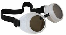 Steampunk White Cyber Motorcycle Flying Goggles Vintage Pilot Biker