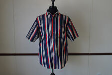 Vintage 90s BASIC EDITIONS Neon Hot Pink / Red Striped Short Sleeve Shirt Size M