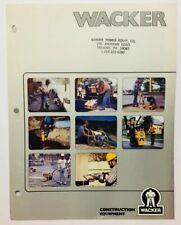 Wacker Construction Equipment Brochure Vibratory Rollers Rammers Pumps Trowels