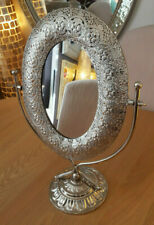Moroccan Silver Metal Dressing Table Mirror Antique Deco Tradional Frame 41x30cm