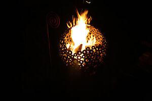 Feuerkugel Feuerschale aus Scheiben Rost mit Untergestell