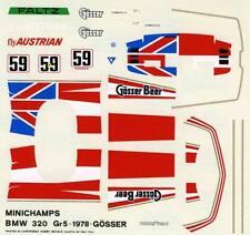 BMW 320 GR.5 N°59 GOSSER BEER RACE DRM 1978 MINICHAMPS DECALS 1/43